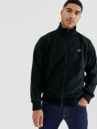 Fred Perry full zip fleece track jacket sweat in black - Black