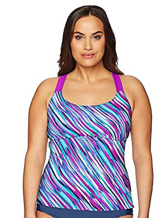 ZeroXposur Womens Plus-Size Monsoon Sunburst Tankini Top, Beet, 18W