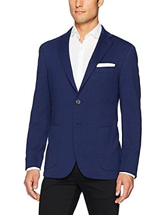 Bugatchi Mens Polyester Blend Solid Knitted Blazer, Ink, 44