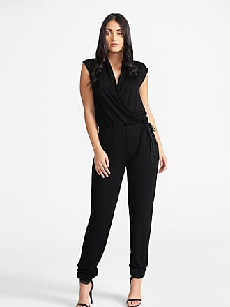 Alloy Apparel Tall Lux Wrap Jumpsuit Black Size XL/37