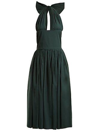 Rochas Tie Neck Stretch Cotton Dress - Womens - Dark Green