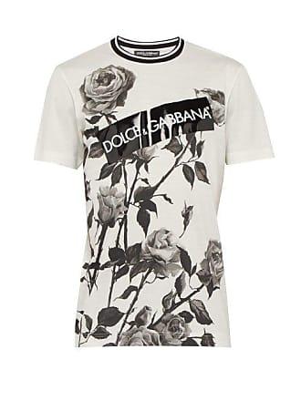 d1916c74aad Dolce   Gabbana T-shirt en coton à imprimé roses et logo