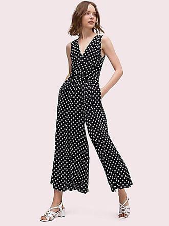 Kate Spade New York Lia Dot Jumpsuit, Black/French Cream - Size 14