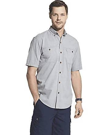 G.H. Bass & Co. Mens Big and Tall Crosshatch Short Sleeve Button Down Solid Shirt, Shark Skin, 3X-Large