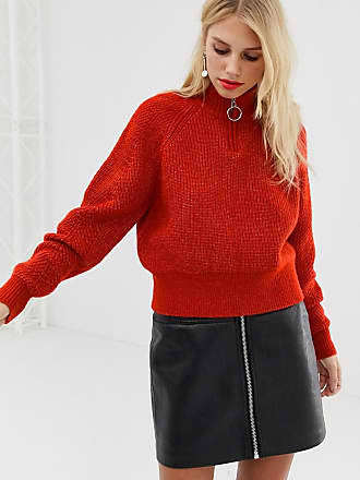 Pieces ribbed zip up sweater in red - Orange