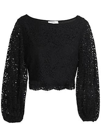 Milly Milly Woman Camilla Cropped Corded Lace Top Black Size 8