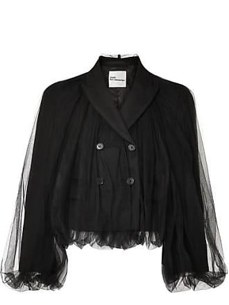 Comme Des Garçons Cropped Wool And Tulle Blazer - Black