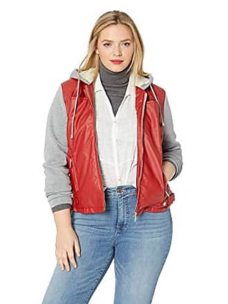 2bfe4a11a8 Yoki Womens Plus Size Faux Leather Jacket with Fleece Sleeves and Hood,  RED, 1X