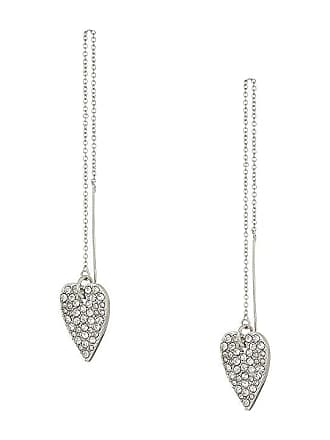 19c44620349a Betsey Johnson Blue by Betsey Johnson Silver with Crystal Heart Threader  Earrings (Crystal) Earring