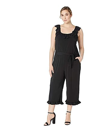 abab6d7a2ab Michael Kors Plus Size Solid Ruffle Neck Jumpsuit (Black) Womens Jumpsuit    Rompers One