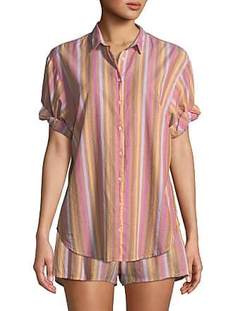 Xirena Channing Striped Short-Sleeve Lounge Shirt