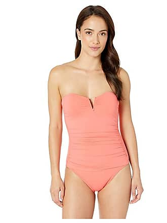 d8f17df286 Tommy Bahama Pearl V-Front Bandeau One-Piece Swimsuit (Paradise Coral)  Womens