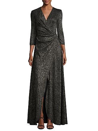 Talbot Runhof Koro Laminated Voile Wrap-Front Gown, Black Metallic