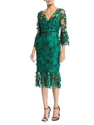Marchesa Bell-Sleeve Embroidered 3D Flower Dress