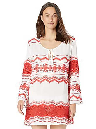 La Blanca Womens Cool Shoulder V-Neck Embroidered Tunic Swim Cover-Up, Flame, M