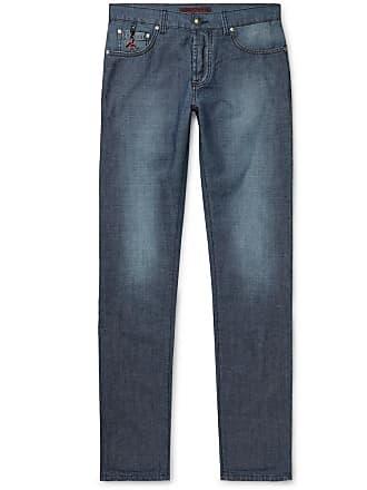 Isaia Slim-fit Cotton And Linen-blend Denim Jeans - Blue