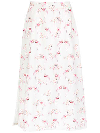 OLYMPIAH flamingo print straight skirt - White