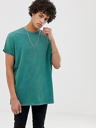 Asos Grön stentvättad t-shirt i oversize- och longline-modell med  upprullade ärmar 27753dd34aec1