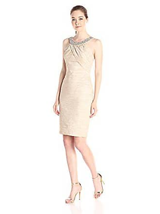 08627f7a Eliza J Womens Fitted Dress with Beaded Neckline, Nude, 12