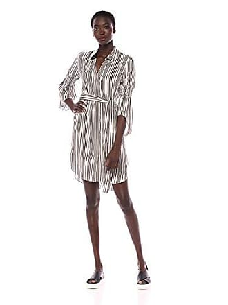 bea58eec23dd7 Halston Heritage Womens Long Sleeve Button Down Shirtdress with Smocking