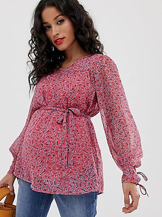 Mama Licious Mamalicious maternity floral chiffon top - Red