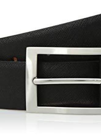 Van Heusen Mens Leather Belt with Two Tone Plaque Buckle