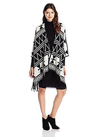 Kensie Womens Open Front Fringe Poncho, Ivory/Multi, One Size