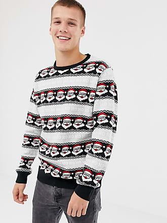 Threadbare Tall Ho Ho Ho Santa Holidays Sweater - Black