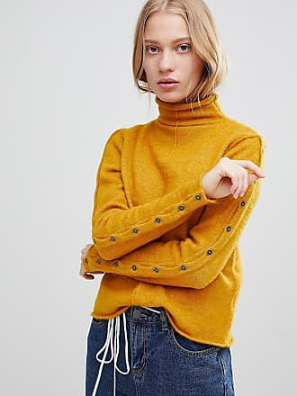 SHAE Buttoned Sleeves High Neck Alpaca and Merino Wool Blend Sweater - Yellow