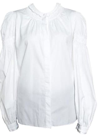 5409c4adba06 Alexander McQueen Alexander Mcqueen White Ruffled Gathered Trim Detail Long  Sleeve Blouse M