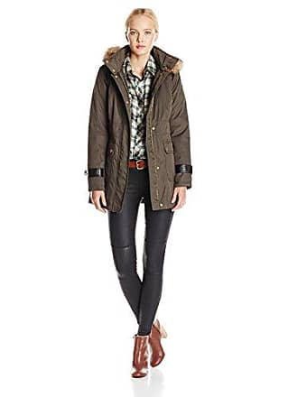 Kensie Womens Parka Jacket with Faux-Fur Trim, Military Green, X-Small