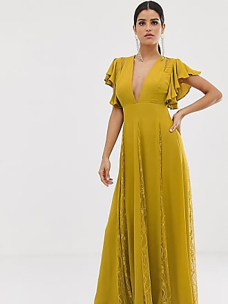 Asos Tall ASOS DESIGN Tall maxi dress with godet lace inserts-Green