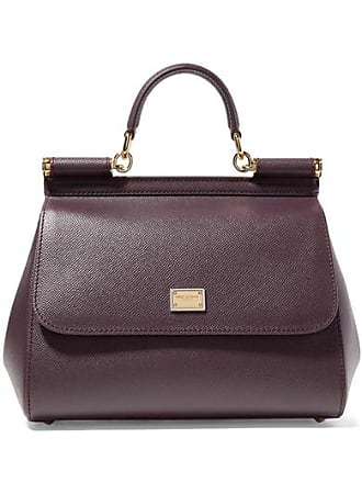 0895ce8798 Dolce & Gabbana Sicily Medium Textured-leather Tote - Burgundy