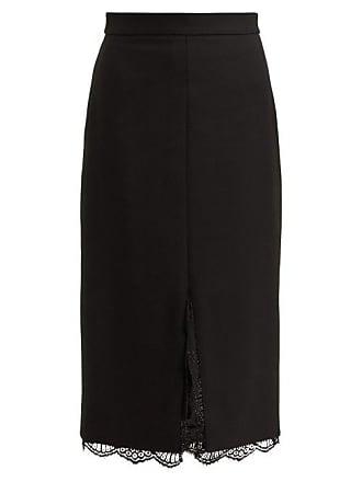 e55df090b Alexander McQueen Alexander Mcqueen - Lace Trimmed Wool Blend Pencil Skirt  - Womens - Black
