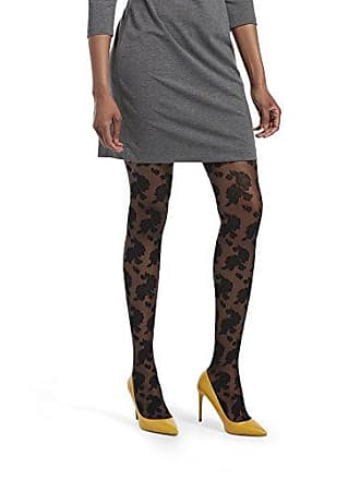 c2b425d749a11 Hue Womens Fashion Tights with Control Top, Assorted, Sheer Floral Lace -  Black,