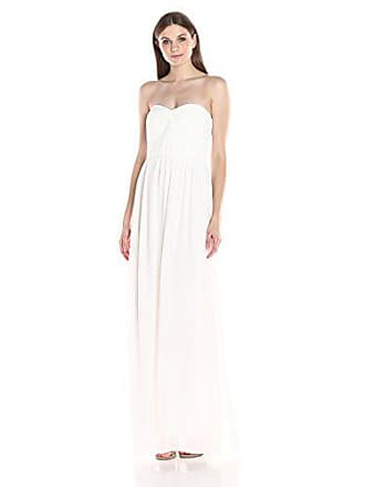 Minuet Womens Twist Ruched Bodice Long Gown, Ivory, Medium