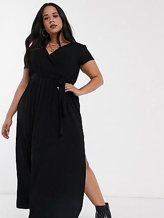 Asos Curve ASOS DESIGN Curve - Vestito lungo a portafoglio nero allacciato in vita