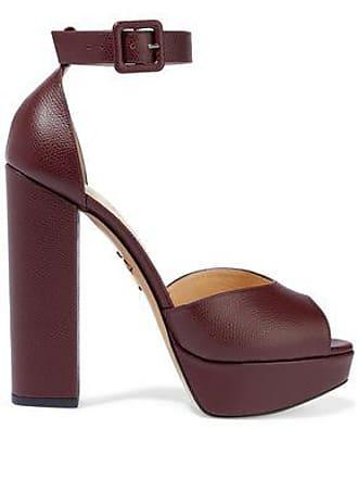 3d119c3b7db8da Charlotte Olympia Charlotte Olympia Woman Textured-leather Platform Sandals  Burgundy Size 39.5