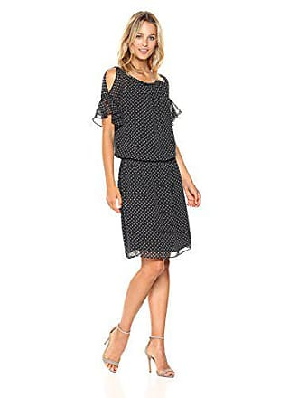 Max Studio Womens Cold Shoulder Dress with Cinched Waist, Black/Ivory Star Dash, Small
