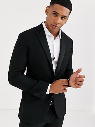 Topman skinny tuxedo jacket in black