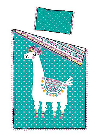 South Shore Furniture DreamIt Twin Comforter and Pillowcase Festive Llama, Turquoise and Pink
