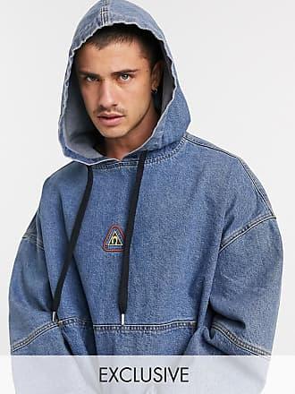 Reclaimed Vintage inspired oversized denim hoodie with logo-Blue