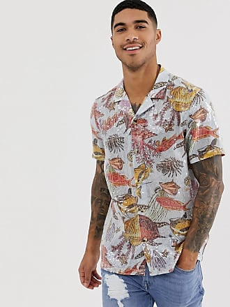 af292db3ed Asos regular fit underwater sequin printed shirt with revere collar