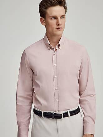 Hackett Mens Bengal Engineered Stripe Detail Cotton Shirt | Medium | Red/White