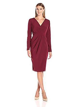Lark & Ro Womens Long Sleeve Satin Soft Pleated Deep V-Neck Dress, Bordeaux, X-Small