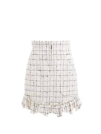 Rebecca Taylor Ruffle Hem Cotton Blend Tweed Bouclé Skirt - Womens - Ivory