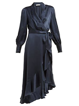Zimmermann Asymmetric Hem Silk Satin Wrap Dress - Womens - Navy