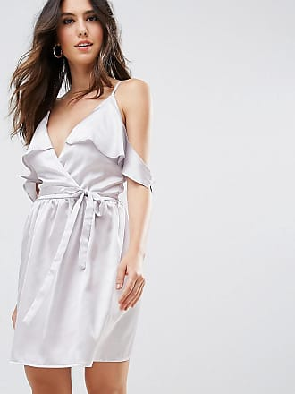Oh My Love Satin Wrap Dress With Tie Waist - Silver