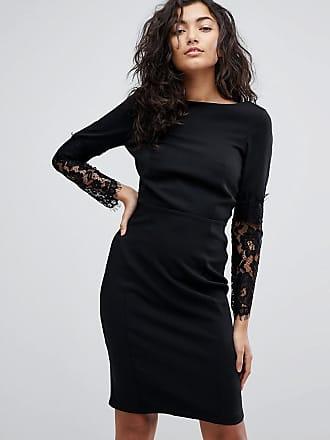 Paper Dolls Lace Sleeve Pencil Dress - Black