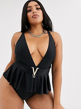 Wolf & Whistle Curve Exclusive Eco peplum swimsuit in black
